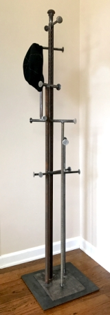 """Exploded Mondrian Coat Catcher- 69""""H x 15"""" W. Built from allthread, square stock, round stock, unistrut, rebar, drill bit, bolt and washers."""