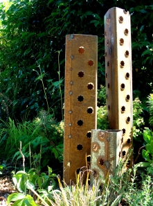 """columns - industrial punched steel, tri-prong stake base 43"""" H x 33"""" H x 14"""" H"""