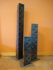 "Towers - option of this flat base or stakes for the ground- 6' H x 4' H x 2' H x 9"" W"