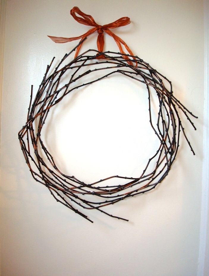 "willow wreath - copper ribbon 18""W / 3"" D"