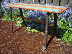 "salvaged steel bench - vintage metal awnings, plumbing fittings and pipes for legs - 40"" L/ 20"" W/ 19"" H"