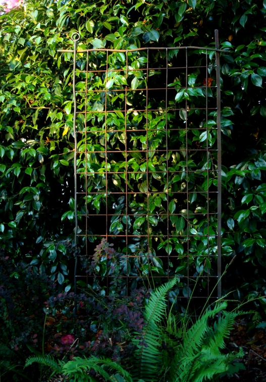 "grid trellis with asymmetrical accents. scrap mesh, cut offs, scrap laser remnants and hex rod 31"" W x 5' H"