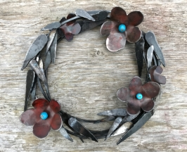 """Steel Flower with Evergreen Clematis Leaves. - 19"""" W x 10 lbs"""
