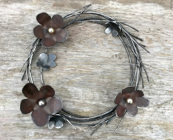 """Steel Flowers with Willow Branches. Beads of gold and silver. - 20""""W"""