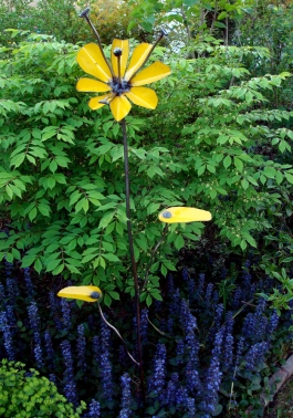 yellow garden flower - stainless steel, scrap parts cabinet in yellow, scrap rod