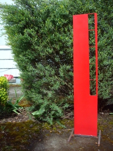 """red rectangle totem- 40"""" H / 12"""" W"""