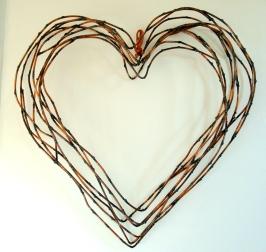 """heart willow wreath- 17"""" W x 17"""" H x 3"""" D"""