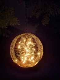 """orb chandelier - detail at night - 20"""" mesh orb with lights"""