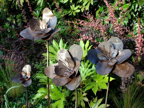 wild roses - stainless steel, scrap steel plate - 3' H x 4'H