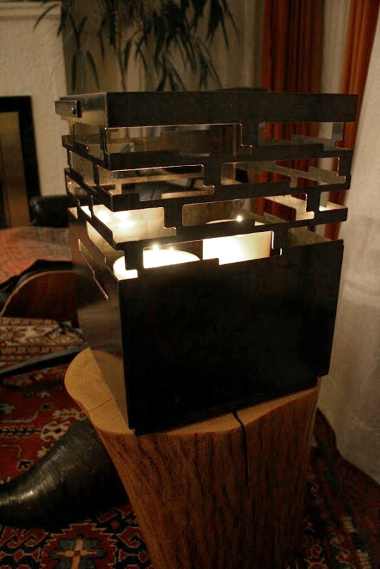 """Cloud Lantern - The handle folds over and rests at the rim. This holds 6 or more large candles. - 12"""" W x 12"""" D x 16"""" H"""