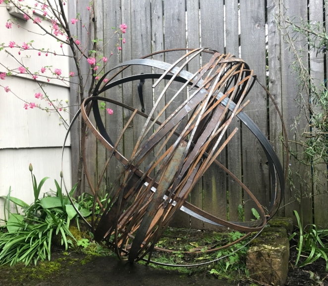 """Whirling Orb- whirling orb - 40"""" H and 56"""" H on stand"""