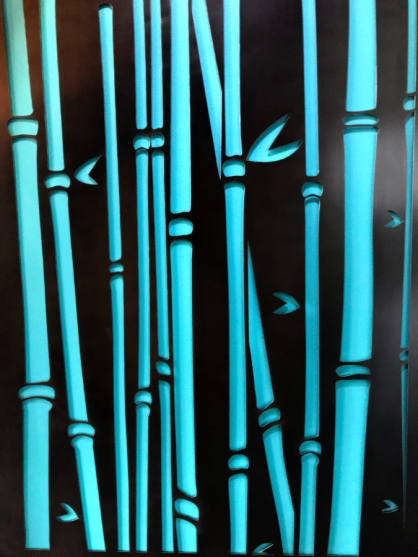 "Bamboo Forest - laser cut design set in recess of pocket door- 95""H x 32""W"