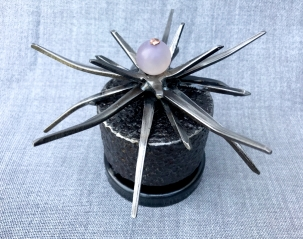 """Thistle- 5"""" W x 3""""H. bead, copper wire, oxidized steel, gear assembly, square cut nails and spiral nails."""
