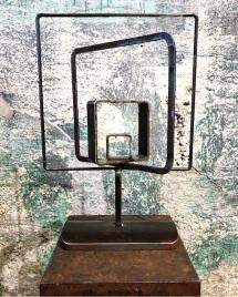 "Geo Orbit Table Topper- 23""H. Reclaimed steel."