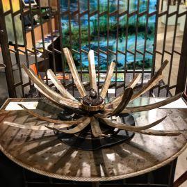 "Samurai Chrysanthemum, 17""W. Reclaimed steel, ball bearing, handle faucet, brass collar."
