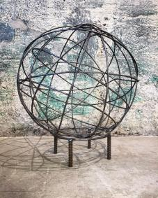"Yarn Orb on base- 27""Wx30""H. Reclaimed steel, 1.5"" rebar."