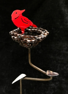 Red Bird in Nest on base- 3'H. Reclaimed chain, steel.