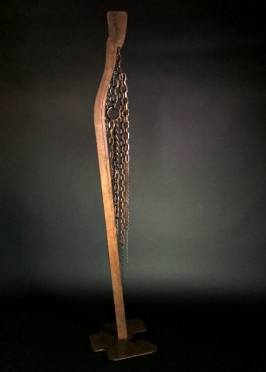 "Cascade- 6'Hx12""W. Scrap chain of various gauges, laser cut remnant, industrial drop base."