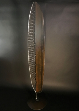 "Industrial Feather- 7'Hx20""W. Aluminum and steel."
