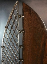 """Industrial Feather detail top, expanded mesh, aluminum cable, steel- 7'Hx20""""W"""