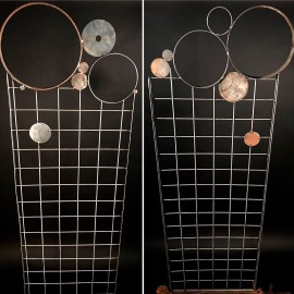 2 Fizzy Grid trellises, reclaimed materials, 6'Hx2'W