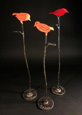 """Songbird on Willow Branch, 24""""Hx5""""W"""