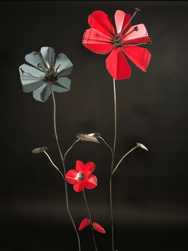 Poppies with stainless steel, 3'-6'H